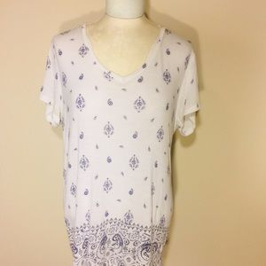 MUDD- Women's White & Blue Relaxed Tee-XL